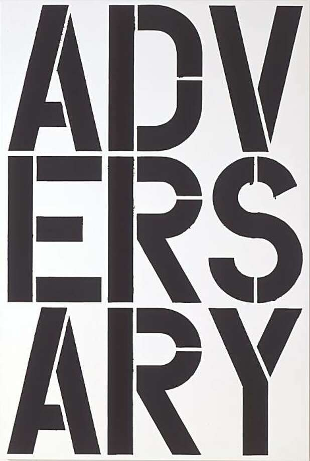 """Untitled"" (1989) alkyd and acrylic on aluminum by Christopher Wool  96"" x 64"" Photo: Courtesy, S.F. Museum Of Modern Art"
