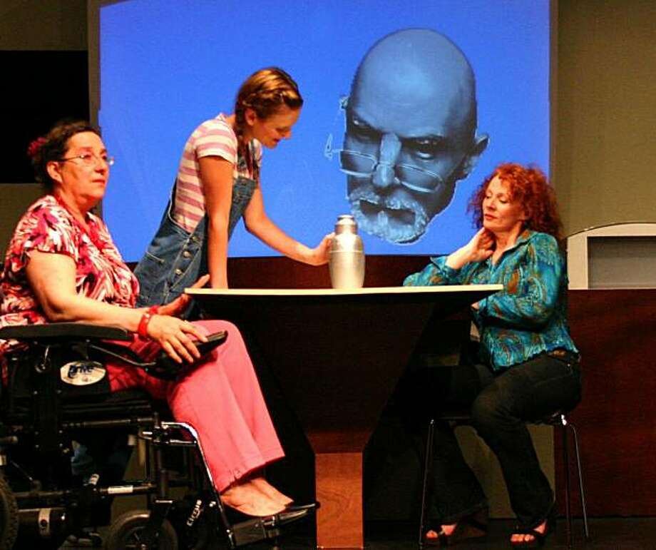 "Maria (Angelina Longueras, left), Shelley (Luisa Frasconi) and wife Lorena (Sarah Soshana David) gather after Victor (Grey Wolf, onscreen) has left his body in Ruben Grijalva's ""Foresight"" Photo: John Donley"