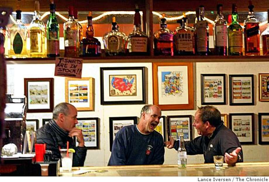 Democrats, Pete McCoy left John Donovan center joke around with Jeff Tappan a registered republican who voted for Barack Obama at an election party at Riptides Bar on Taraval Street in San Francisco Tuesday November 4, 2008 Photo: Lance Iversen, The Chronicle
