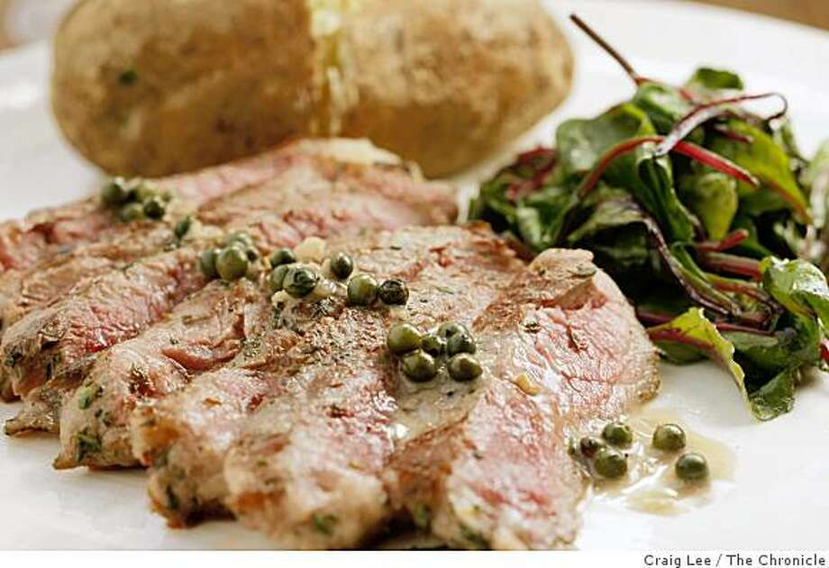 Steak with Green Peppercorn Sauce, Top 100 wine pairing recipe in Oakland, Calif., on October 20, 2008. Food styled by Ethel Brennan. Photo: Craig Lee, The Chronicle