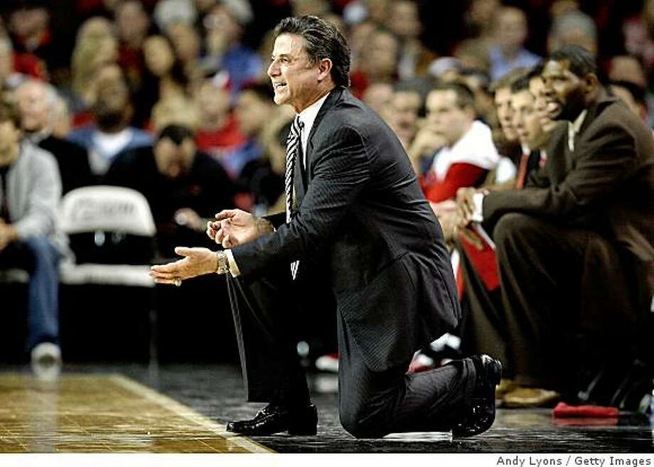 LOUISVILLE, KY - DECEMBER 08:  Rick Pitino the Head Coach of the Louisville Cardinals gives instructions to his team during the game against the Lamar Cardinals on December 8, 2008 at Freedom Hall in Louisville, Kentucky.  (Photo by Andy Lyons/Getty Images) Photo: Andy Lyons, Getty Images