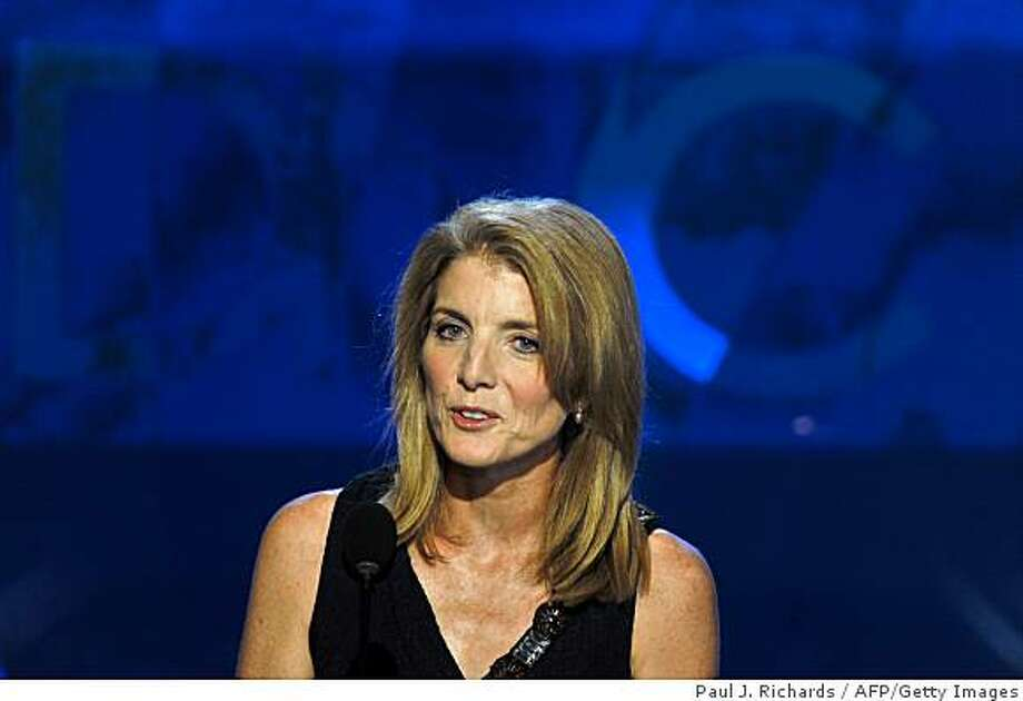 Daughter of the late US president John F. Kennedy and Jackie Kennedy, Caroline Kennedy Schlossberg, addresses the Democratic National Convention 2008 at the Pepsi Center in Denver on August 25, 2008. The Democrats formally opened their convention to crown Barack Obama as the first black presidential nominee in US history.          AFP PHOTO/Paul J. RICHARDS (Photo credit should read PAUL J. RICHARDS/AFP/Getty Images) Photo: Paul J. Richards, AFP/Getty Images