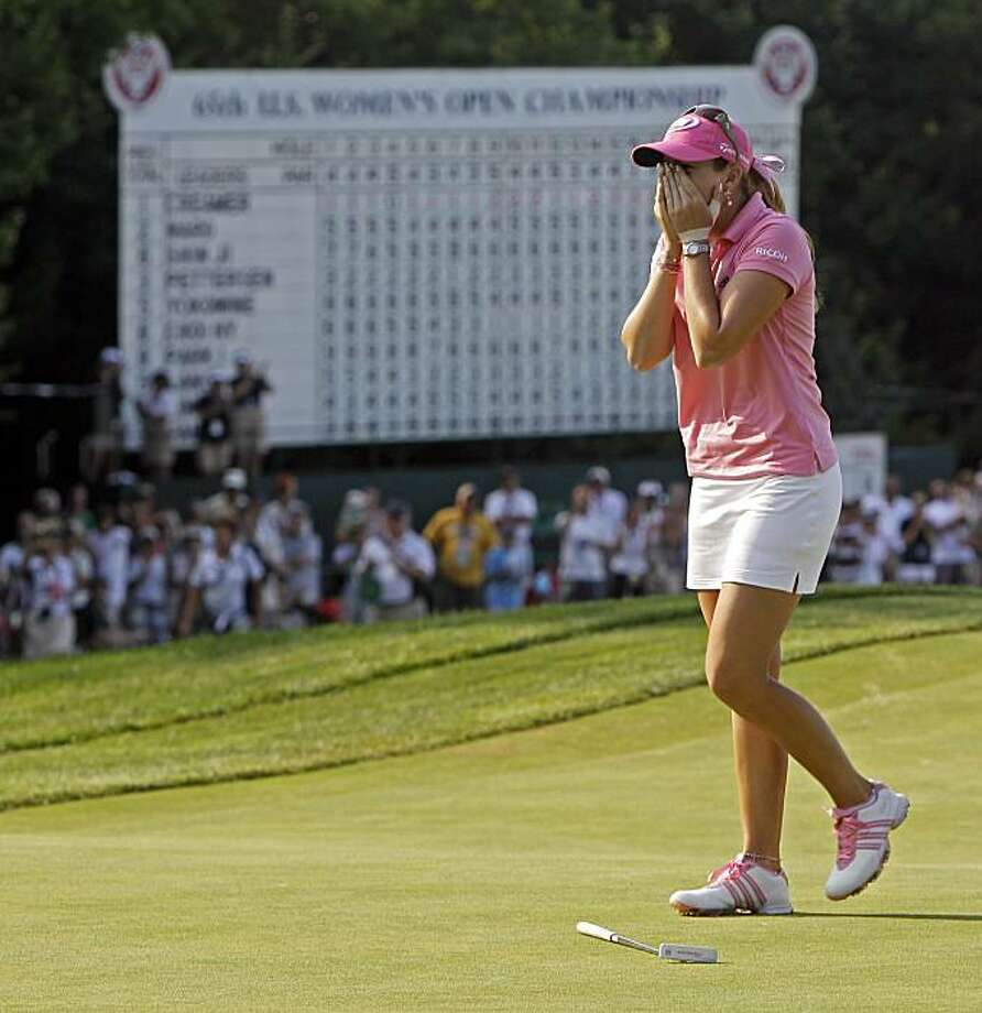 Paula Creamer reacts after winning the U.S. Women's Open golf tournament at Oakmont Country Club in Oakmont, Pa., Sunday, July 11, 2010. Paula Creamer has won her first major after a final-round, 2-under 69 gave her a 3-under 281 for the tournament. Photo: Darron Cummings, AP