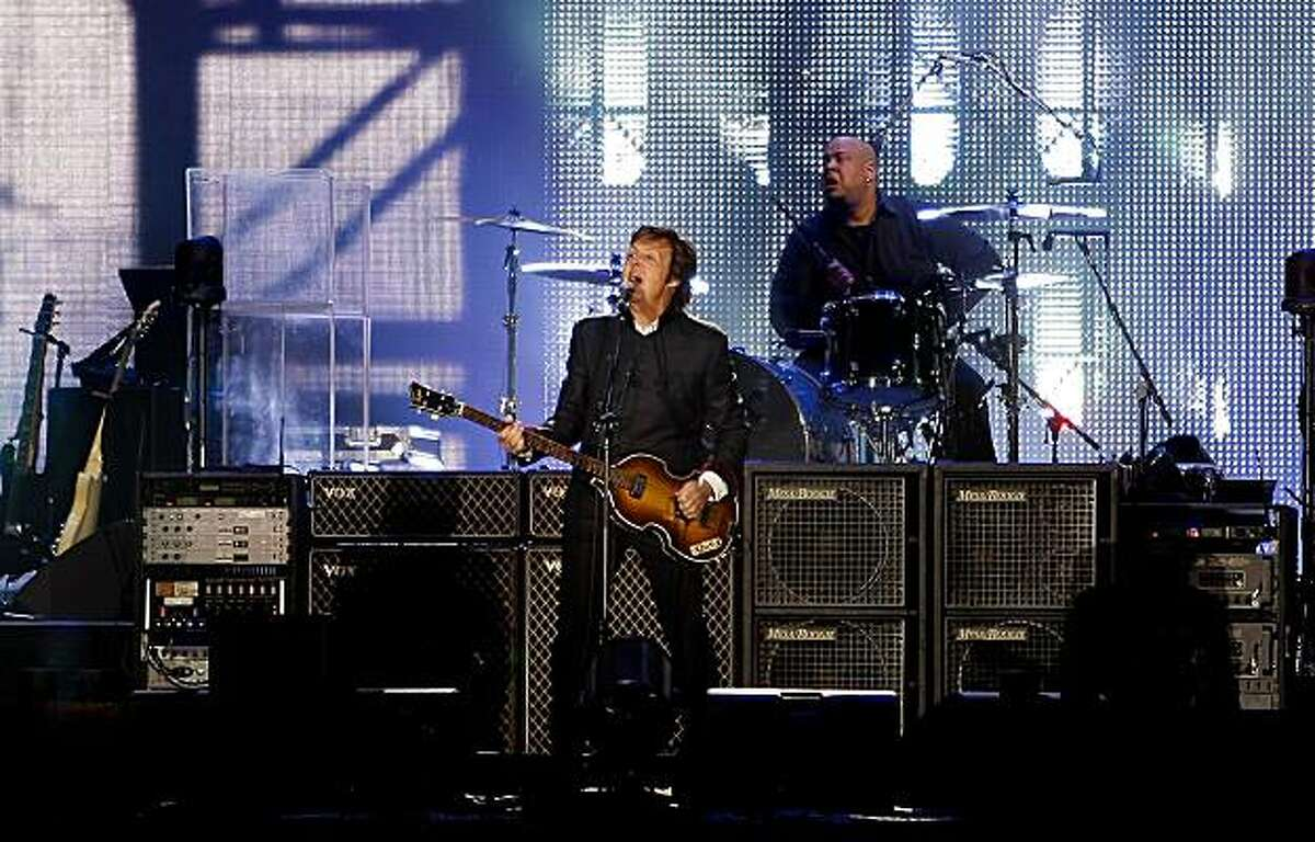 Sir Paul McCartney plays to a sold out show at AT&T Park in San Francisco, Ca. on Saturday July 10, 2010. Bandmate Abe Laboriel on drums.