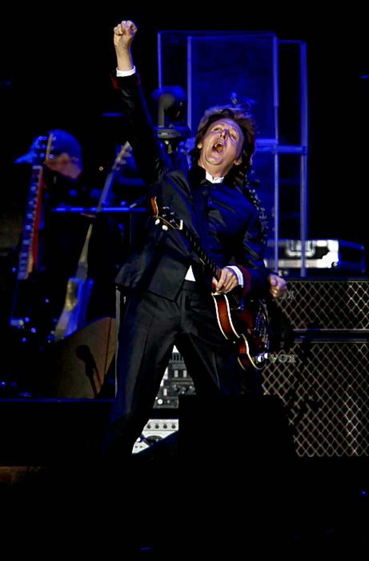 Sir Paul McCartney takes the stage as he plays a sold out show at AT&T Park in San Francisco, Ca. on Saturday July 10, 2010.