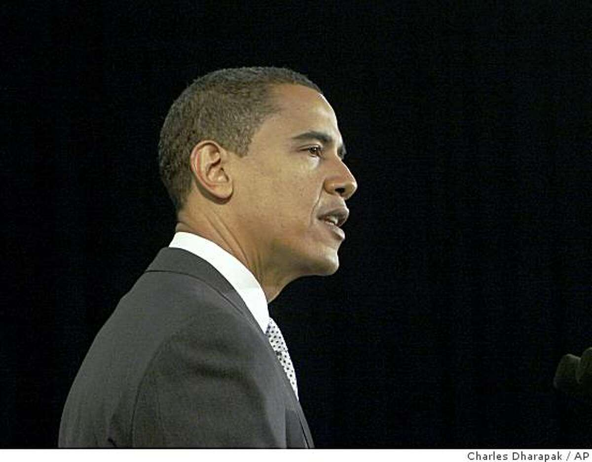 President-elect Barack Obama speaks at a news conference in Chicago, Wednesday, Dec. 3, 2008. (AP Photo/Charles Dharapak)