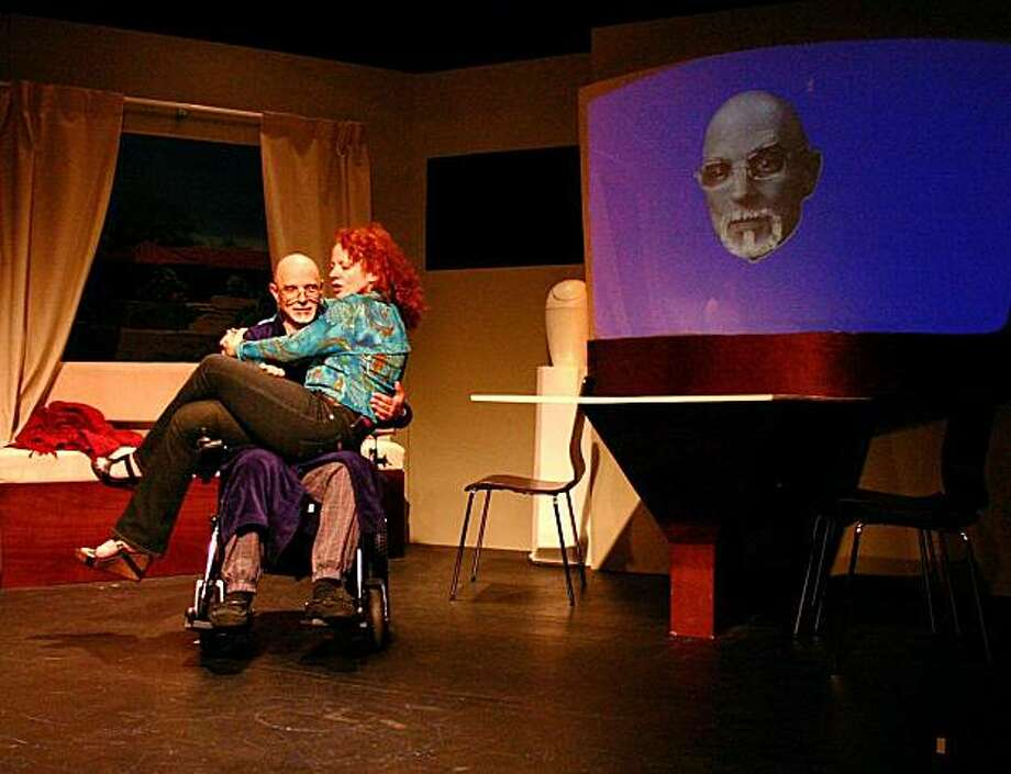 Computer scientist Victor Martinez (Grey Wolf), suffering from terminal illness, creates a digital version of himself so his wife (Sarah Soshana David) and unborn daughter won't be bereft when he's gone. Photo: John Donley