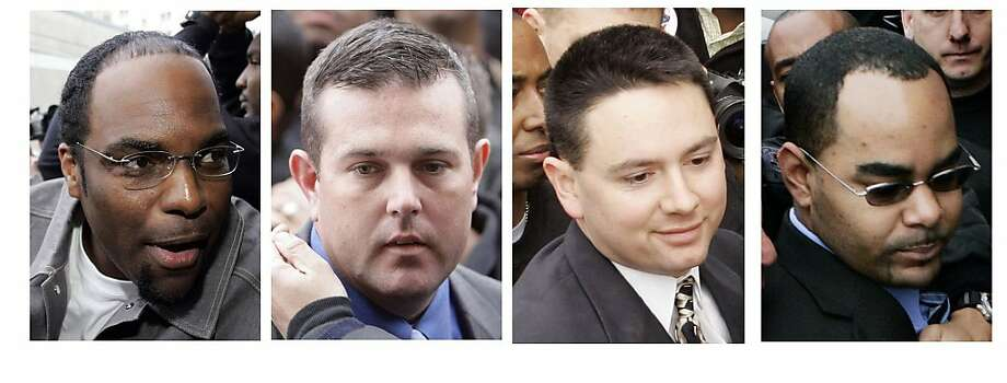 In Tuesday, Jan. 2, 2007 file photos, four New Orleans police officers are seen in a combination of photos as they arrive for booking in New Orleans. From left:  Robert Faulcon Jr., Robert Gisevius Jr., Kenneth Bowen, and Anthony Villavaso II.  The four police officers could face the death penalty after being accused of gunning down two unarmed people in the chaotic aftermath of Hurricane Katrina. The officers were charged along with two others in a 27-count indictment unsealed Tuesday, July 13, 2010. Theindictment charges Sgts. Gisevius and Bowen, officer Villavaso and former officer Robert Faulcon with deprivation of rights under color of law and use of a weapon during the commission of a crime. Photo: AP