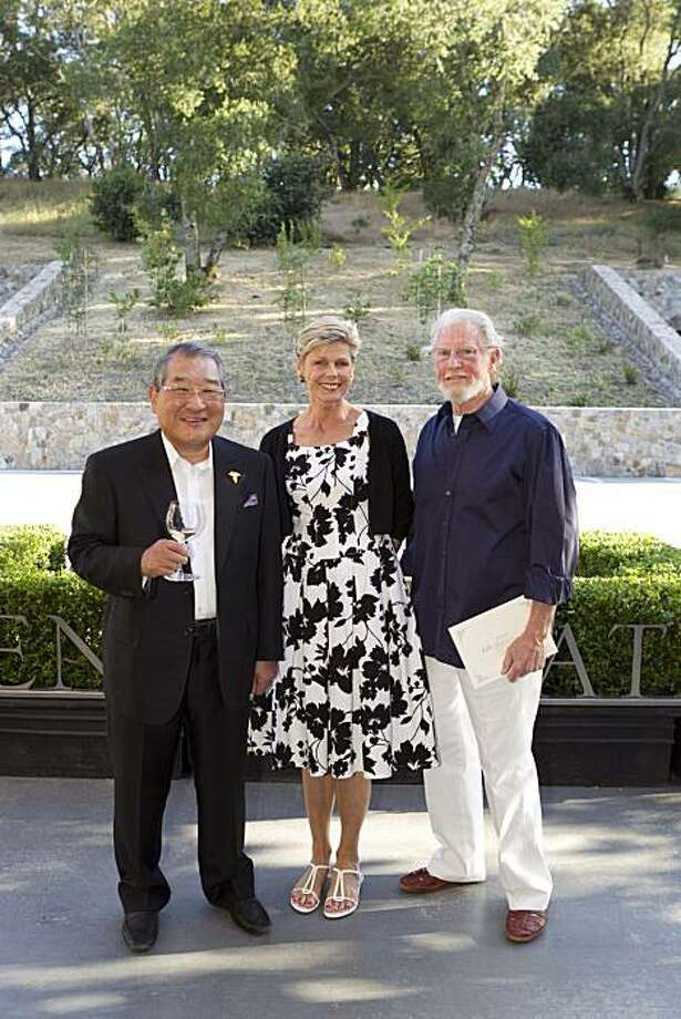 Vintner Kenzo Tsujimoto (left) with Debbie Harlan and her husband, Screaming Eagle vintner Bill Harlan at the Kenzo Estate Winery opening. July 2010. Photo: Drew Altizer, Drew Altizer Photography