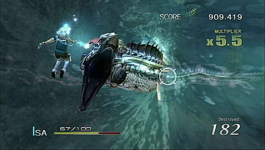 """The undersea tunnel level in Sin & Punishment: Star Successor resembles a demented """"Finding Nemo"""" outtake. Photo: Nintendo"""