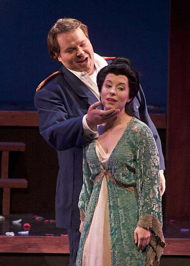 "Christopher Bengochea (l.) as Pinkerton and Teresa Eickel as Cio-Cio-San in Puccini's ""Madama Butterfly"" at Festival Opera Photo: Robert Shomler"