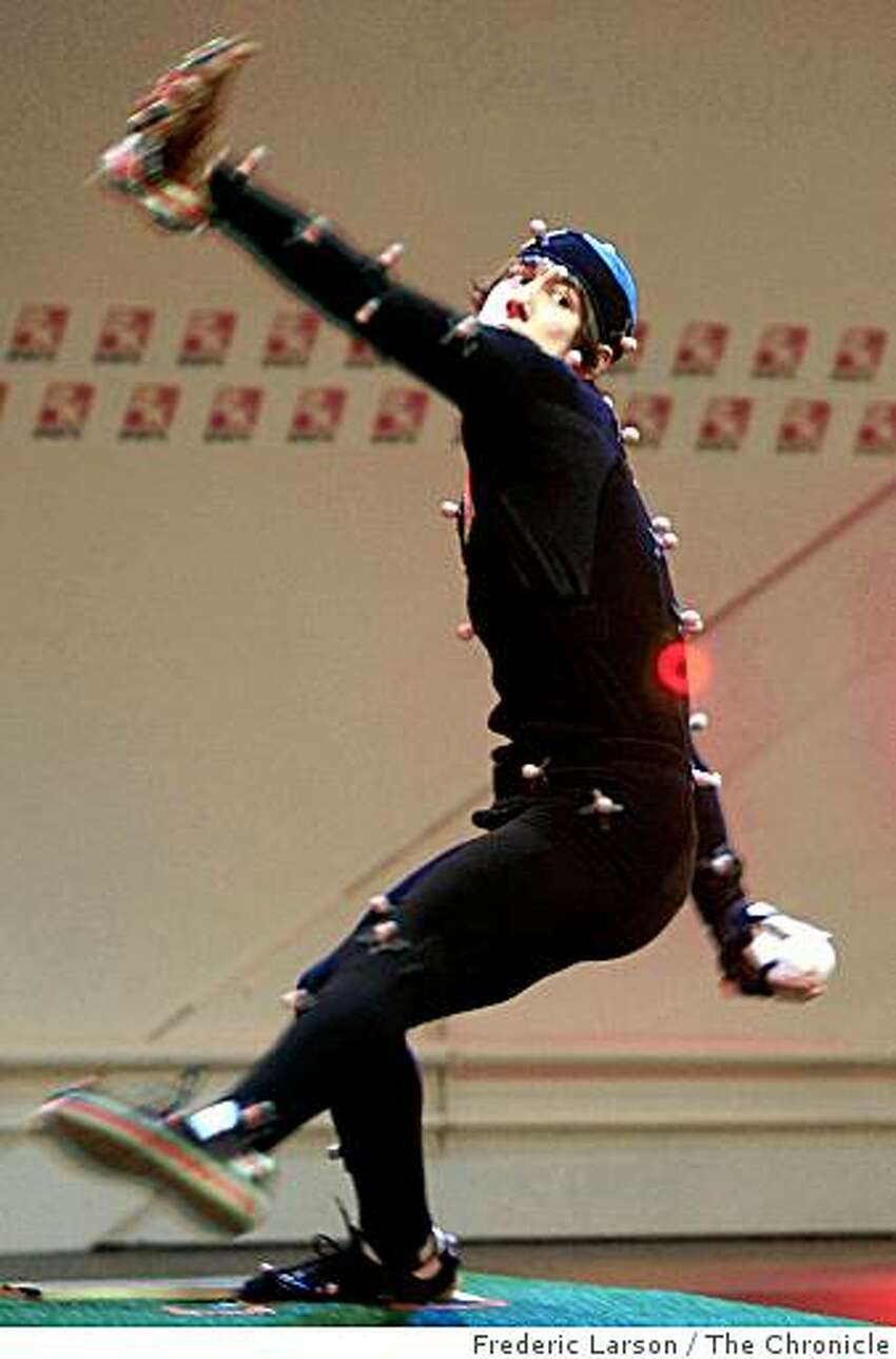 Tim Lincecum the Cy Young award winner and San Francisco Giants pitcher participated in a motion capture session with 2K Sports for an upcoming video game in Novato Calif., on December 3, 2008.