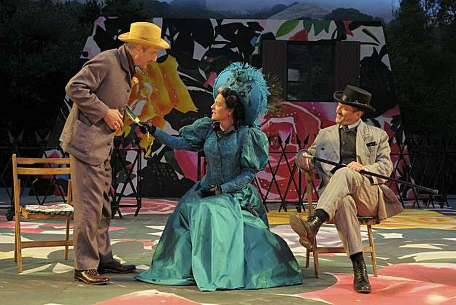 "Mr. Praed (Dan Hiatt, left) and Sir George Crofts (Andy Murray) visit with Mrs. Warren (Stacy Ross) in California Shakespeare Theater's production of ""Mrs. Warren's Profession"" Photo: Kevin Berne"