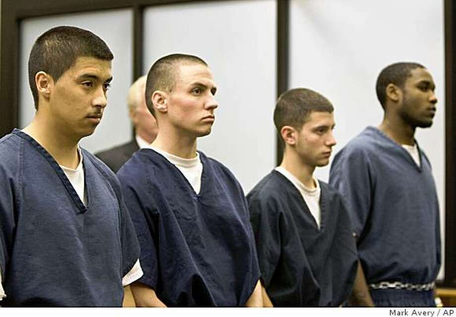 From left, Esteban Nunez, Ryan Jett, Rafael Garcia, and Leshanor Thomas, listen as they are arraigned for murder in Superior Court in San Diego, Calif., Thursday, Dec. 4, 2008. Nunez, son of California Assembly Speaker Fabian Nunez, and his three friends are accused of stabbing to death a 22-year-old student and injuring three other men on the San Diego State University campus. (AP Photo/Mark Avery) Photo: Mark Avery, AP