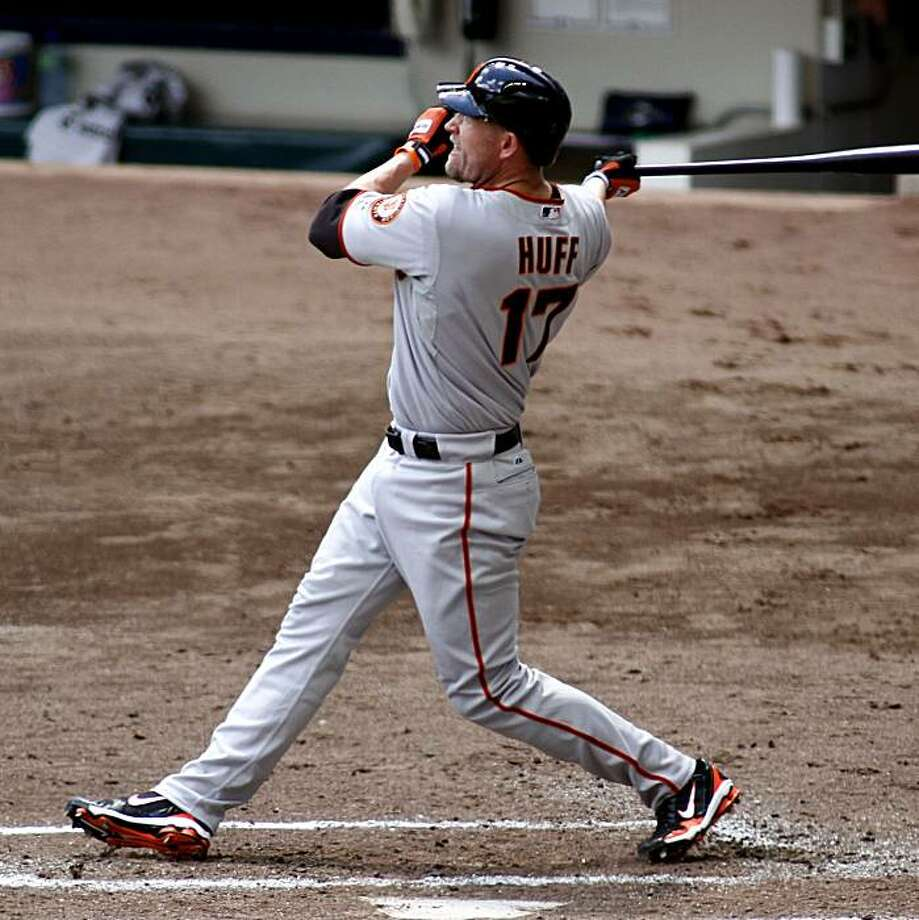 San Francisco Giants' Aubrey Huff hits a two run home run against the Milwaukee Brewers during the third inning of a baseball game Thursday, July 8, 2010, in Milwaukee. Photo: Ap, Photo