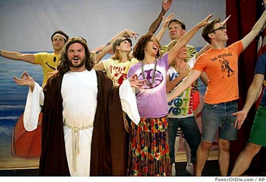 """In this image released by FunnyorDie, Jack Black portrays Jesus in a Web video called """"Prop 8: The Musical.""""  (AP Photo/FunnyOrDie.com) ** NO SALES ** Photo: FunnyOrDie.com, AP"""