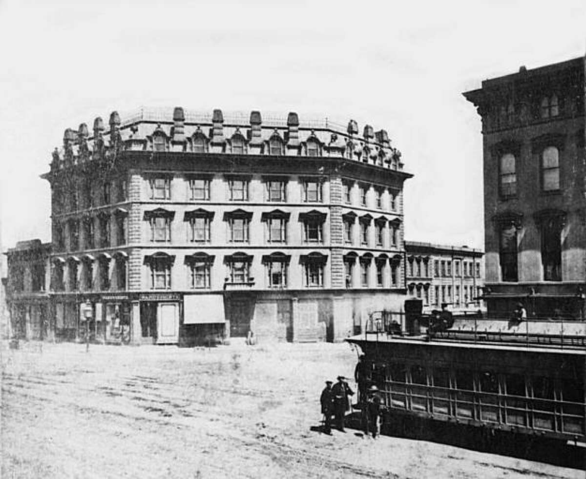The only known photo of the Market Street railroad train taken around 1860 at Market and Third streets.