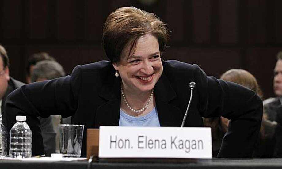 Supreme Court nominee Elena Kagan gets out of her seat on Capitol Hill in Washington, Wednesday, June 30, 2010, after testifying before the Senate Judiciary Committee hearing on her nomination. Photo: Alex Brandon, AP