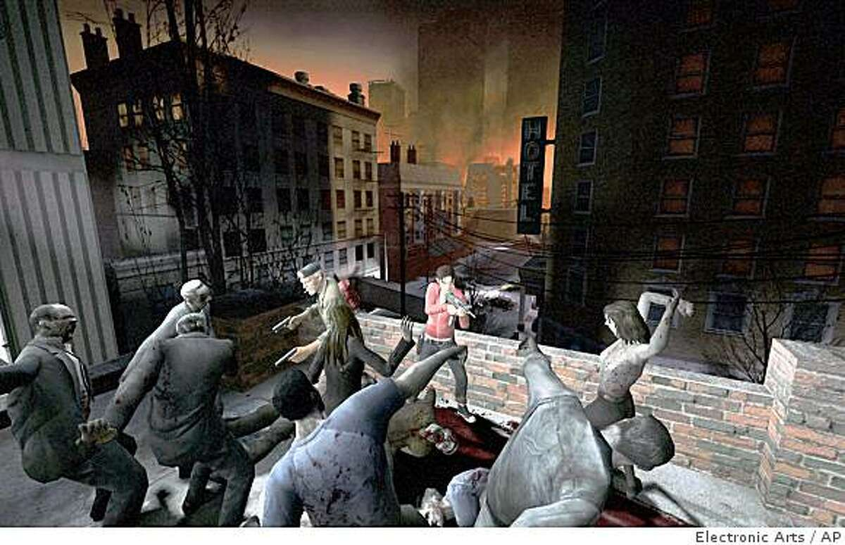 This screen grab released by Electronic Arts shows zombies rampaging in an abandoned city in ?Left 4 Dead?.