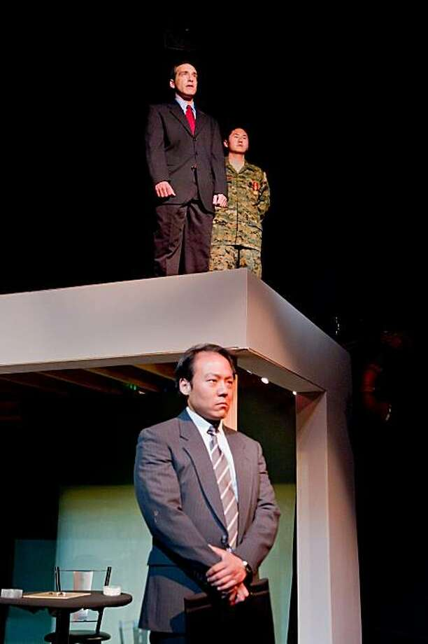 """U.S. President James Cole (Garth Petal, above left) surrenders to General Niu (Stephen Hu) and Chinese President Zhang Kai (Wayne Lee, below, center) in Paul Heller's """"Beijing, California"""" at Asian American Theater Company Photo: Bob Hsiang Photography"""