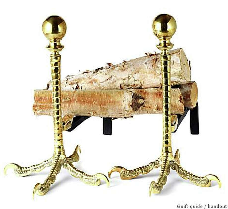 Get a leg up, or two, on getting comfy in front of the fire built on a pair of early 20th century French brass andirons. And just because they're modeled on ostrich legs doesn't mean you can hide your head in the sand, $5,625, Epoca, www.epocasf.com Photo: Guift Guide, Handout