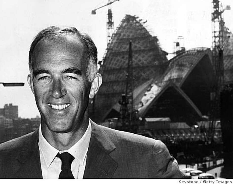 FILE: Danish architect Jorn Utzon in front of the Sydney Opera House during its construction circa 1965 in Sydney, Australia. It was announced today that Danish architect Jorn Utzon, designer of the Sydney Opera House, died of a heart attack on Saturday at the age of 90. Utzon was famous for the design of the impressionist Opera House, which was declared a UNESCO World Heritage site last year, but he also designed the National Assembly of Kuwait and several prominent buildings in his native Denmark. (Photo by Keystone/Getty Images) Photo: Keystone, Getty Images