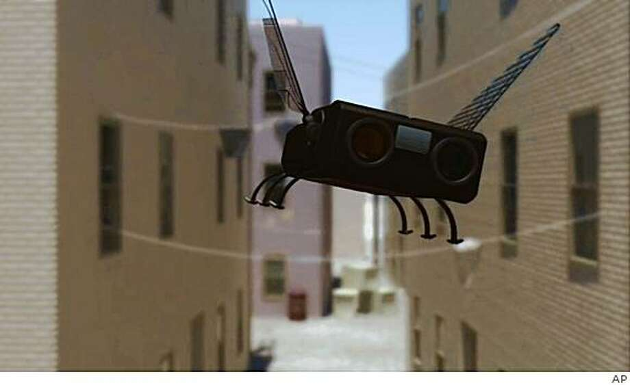 In this photo taken from computer animation video Friday, Nov. 21, 2008, and released by the U.S. Air Force, shows the next generation of drones, called Micro Aerial Vehicles, or MAVs. The MAVs could be as tiny as bumblebees and capable of flying undetected into buildings, where they could photograph, record, and even attack insurgents and terrorists. U.S. military engineers are trying to design flying robots disguised as insects that could one day spy on enemies and conduct dangerous missions without risking lives. (AP  Photo/U.S. Air Force, HO) Photo: AP