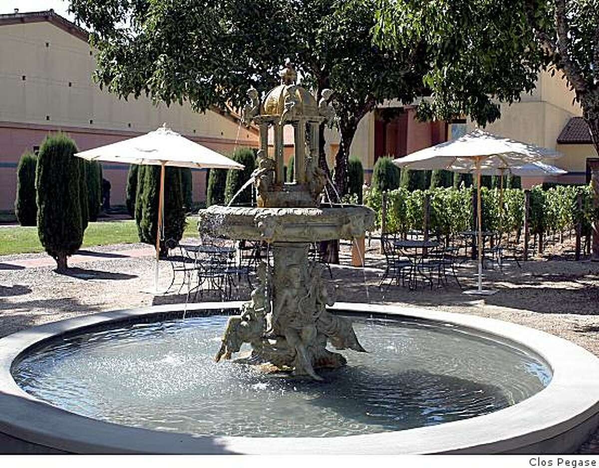 The fountain and picnic area at Clos Pegase Winery.