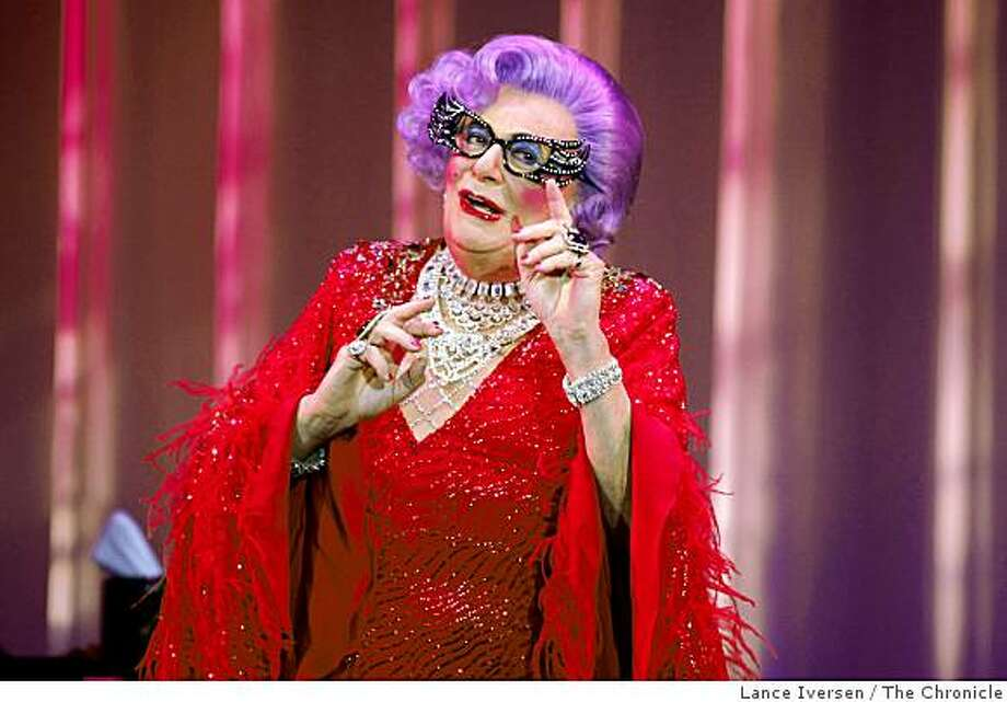 Extravagant drag Queen Dame Edna delighted her audience at The Post Street Theatre Thursday night. Photo: Lance Iversen, The Chronicle