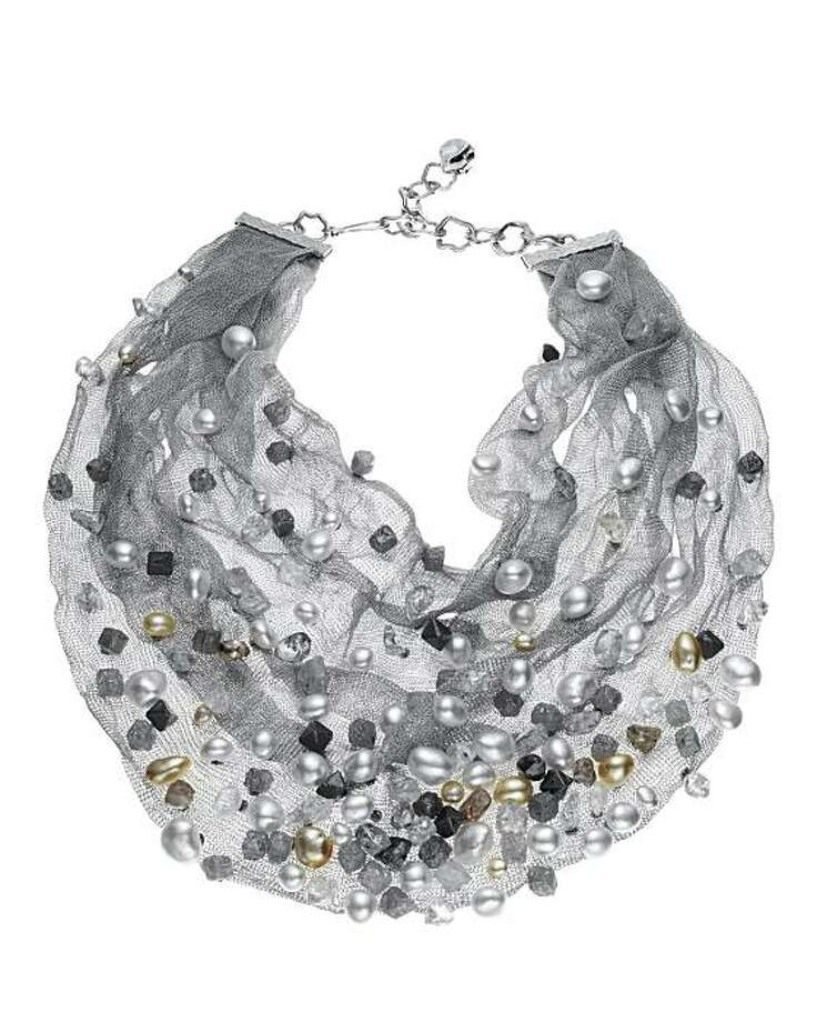 Frank Gehry's rough diamond and Keshi pearl mesh necklace in 18k white gold.  $750,000 Photo: Tiffany & Co.