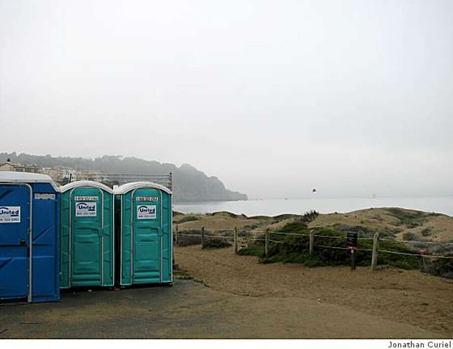 "The ""portopotties"" at Baker Beach in s.f. Photo: Jonathan Curiel"