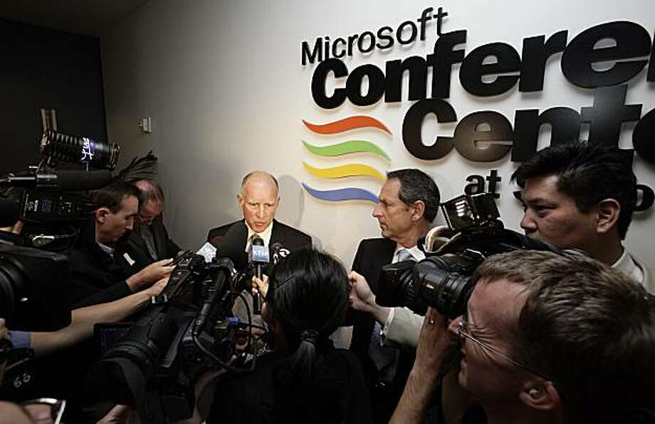 California Attorney General and Democratic gubernatorial candidate Jerry Brown talks to media after a campaign appearance at a gathering of the Silicon Valley Leadership Group held at the Microsoft Mountain View, Calif. campus on Tuesday, June 15, 2010. (AP Photo/San Jose Mercury News, Gary Reyes) MAGS OUT; NO SALES Photo: Gary Reyes, San Jose Mercury News Via AP