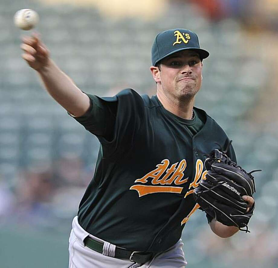 Oakland Athletics pitcher Vin Mazzaro delivers against the Baltimore Orioles in the first inning of a baseball game Tuesday, June 29, 2010 in Baltimore.(AP Photo/Gail Burton). Photo: Gail Burton, AP