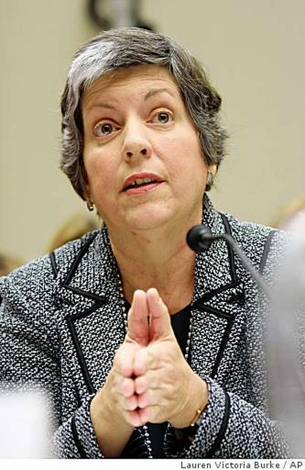Arizona Gov. Janet Napolitano testifies on Capitol Hill in Washington, Thursday, Nov. 13,2008, before the House Energy and Commerce Committee hearing on health care coverage issues. (AP Photo/Lauren Victoria Burke) Photo: Lauren Victoria Burke, AP