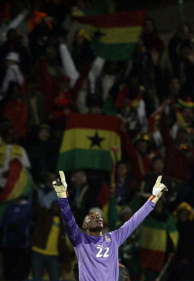 Ghana goalkeeper Richard Kingson reacts at the end of the World Cup round of 16 soccer match between the United States and Ghana at Royal Bafokeng Stadium in Rustenburg, South Africa,  Saturday, June 26, 2010. Ghana won 2-1 in extra time, advancing to theWorld Cup quarterfinals. Photo: Ivan Sekretarev, AP