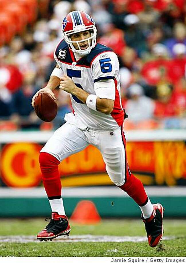 KANSAS CITY, MO - NOVEMBER 23:  Quarterback Trent Edwards #5 of the Buffalo Bills rolls out during the first half of the game against the Kansas City Chiefs on November 23, 2008 at Arrowhead Stadium in Kansas City, Missouri.  (Photo by Jamie Squire/Getty Images) Photo: Jamie Squire, Getty Images