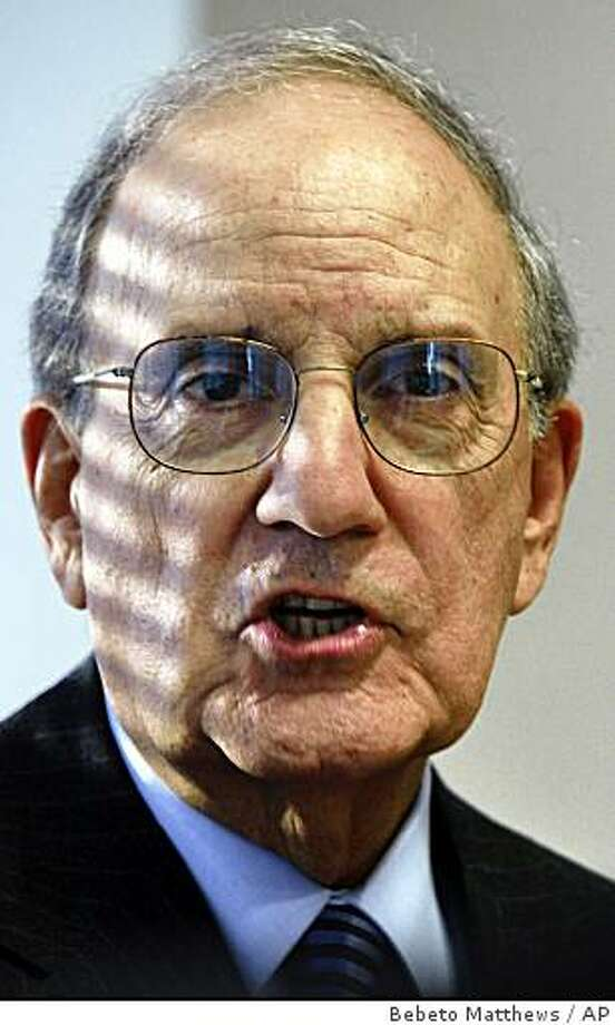 Former Senate Majority Leader George Mitchell, who headed an investigation into past steroid use by Major League Baseball players, listens during an interview in New York, Tuesday, Nov. 25 , 2008. His report on drugs in baseball tarnished the reputation of Roger Clemens and dozens of other players, led to a toughened agreement between players and owners and left the impression in the minds of many that clubhouses were a supermarket of performance-enhancers. (AP Photo/Bebeto Matthews) Photo: Bebeto Matthews, AP