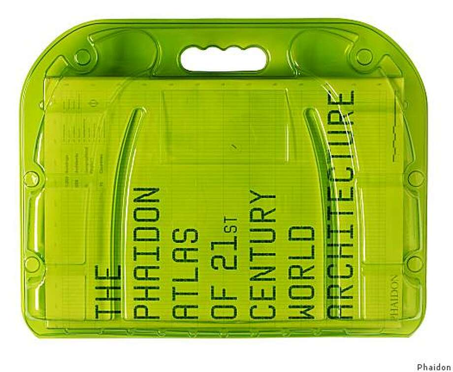 The Phaidon Atlas of 21st Century World Architecture published by Phaidon is heavy and hence comes in a protective case with handles. The design of the attractive transparent chartreuse plastic case  allows for efficient shipping. Photo: Phaidon