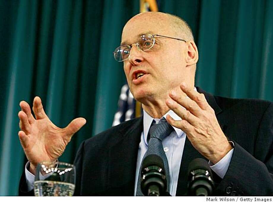 WASHINGTON - NOVEMBER 25:  Treasury Secretary Henry Paulson speaks during a briefing at the Treasury Department November 25, 2008 in Washington, DC. Paulson briefed reporters on the implementation of the Emergency Economic Stabilization Act.  (Photo by Mark Wilson/Getty Images) Photo: Mark Wilson, Getty Images