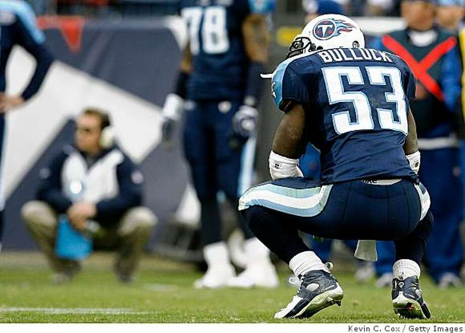 NASHVILLE, TN - NOVEMBER 23:  Linebacker Keith Bulluck #53 of the Tennessee Titans watches as the New York Jets celebrate a touchdown during the game at LP Field on November 23, 2008 in Nashville, Tennessee.  (Photo by Kevin C. Cox/Getty Images) Photo: Kevin C. Cox, Getty Images