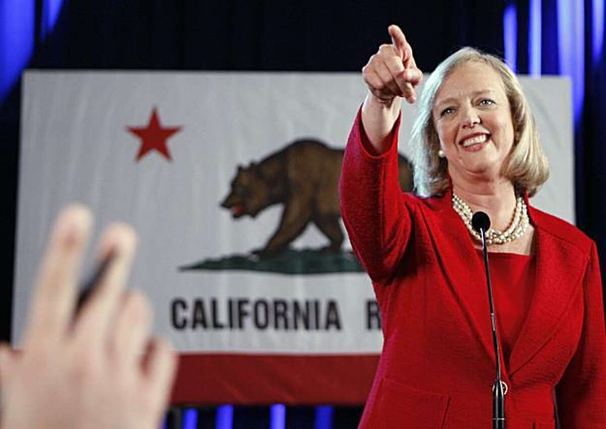 Meg Whitman, after winning the Republican nomination for governor of California, speaks to reporters after a post-primary election celebration in Anaheim, Calif., Wednesday, June 9, 2010.