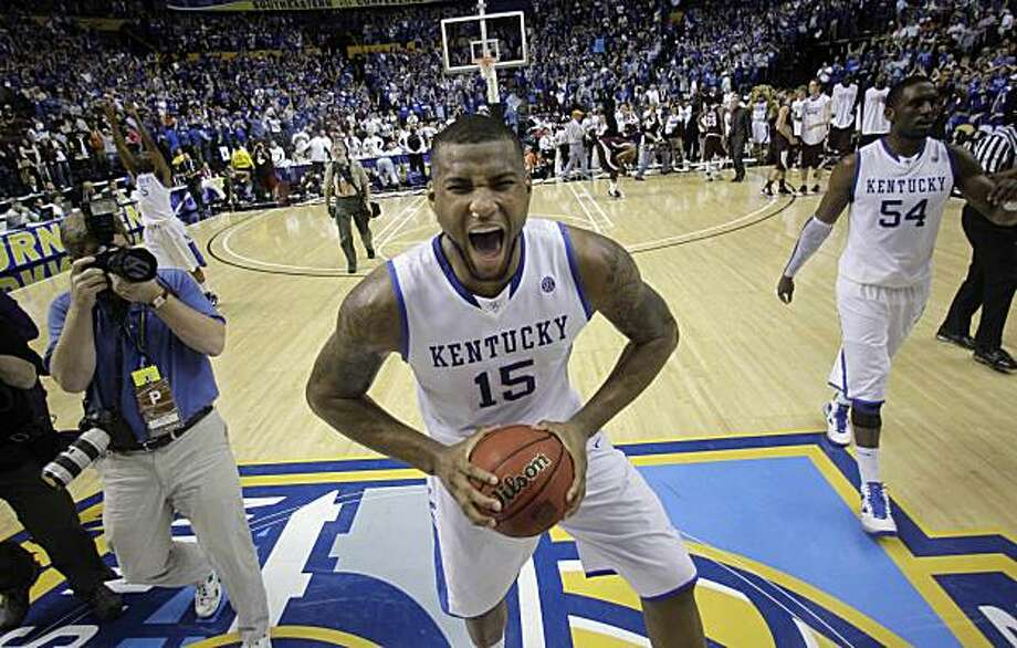 Kentucky's Demarcus Cousins reacts following a 75-74 overtime win over Mississippi State in an NCAA college basketball game on Sunday at the Southeastern Conference tournament in Nashville, Tenn. Photo: Dave Martin, AP