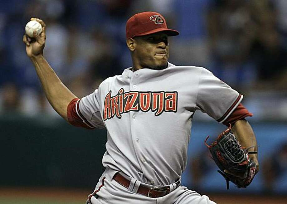 Arizona Diamondbacks pitcher Edwin Jackson delivers to the Tampa Bay Rays during the ninth inning of a baseball game Friday, June 25, 2010, in St. Petersburg, Fla. Jackson threw a no-hitter in the Diamondbacks 1-0 win. Photo: Chris O'Meara, AP