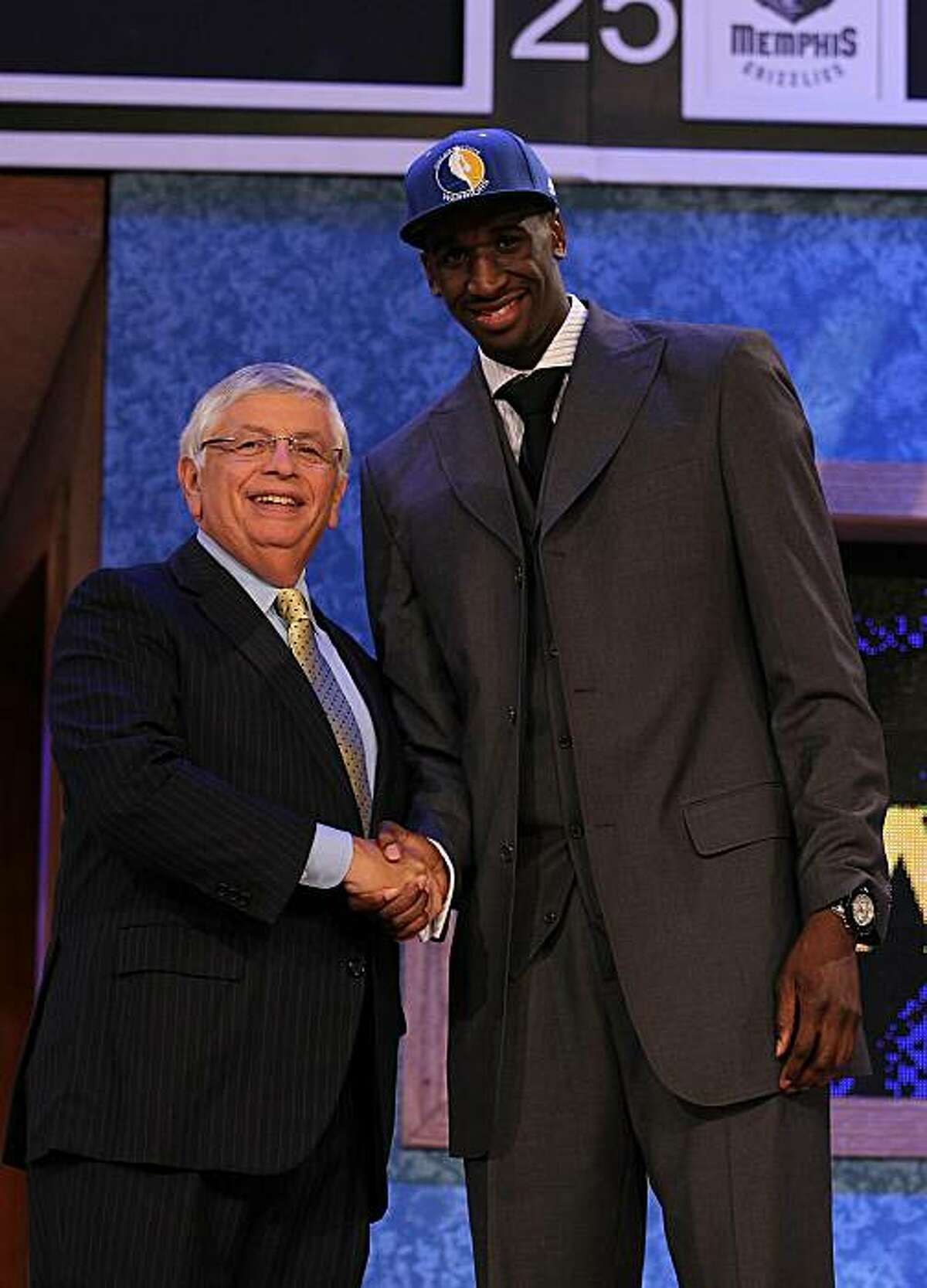 NEW YORK - JUNE 24: Ekpe Udoh stands with NBA Commisioner David Stern after being drafted sixth by The Golden State warriors at Madison Square Garden on June 24, 2010 in New York City. NOTE TO USER: User expressly acknowledges and agrees that, by downloading and or using this photograph, User is consenting to the terms and conditions of the Getty Images License Agreement.