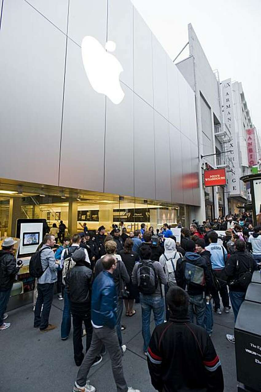Hoards of people lined the sidewalk, some for as many as three days, in anticipation iPhone 4 debut at the Apple store in San Francisco, Calif., on June 24, 2010.