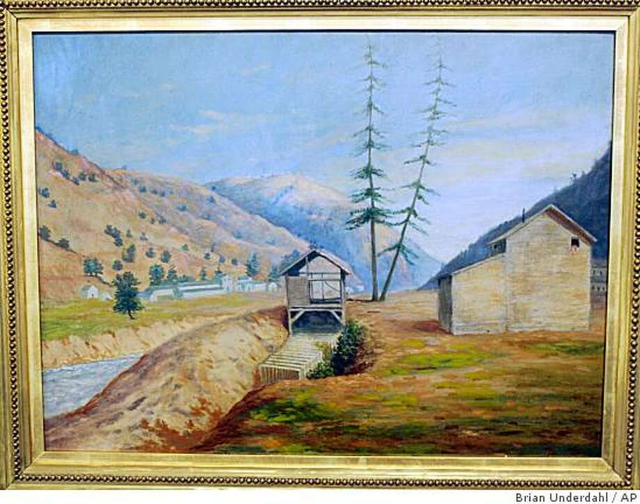 **ADVANCE FOR WEEKEND EDITIONS NOV. 22-23** An oil painting of Sutter's Mill at Coloma, Calif., by Charles B. Gillespie is shown in this photo provided by Holabird-Kagin Americana. Gillespie traveled overland to California in 1849.  The painting is based on sketch he did of the mill where James Marshall discovered gold in 1848.  (AP Photo/Holabird-Kagin Americana, Brian Underdahl) Photo: Brian Underdahl, AP