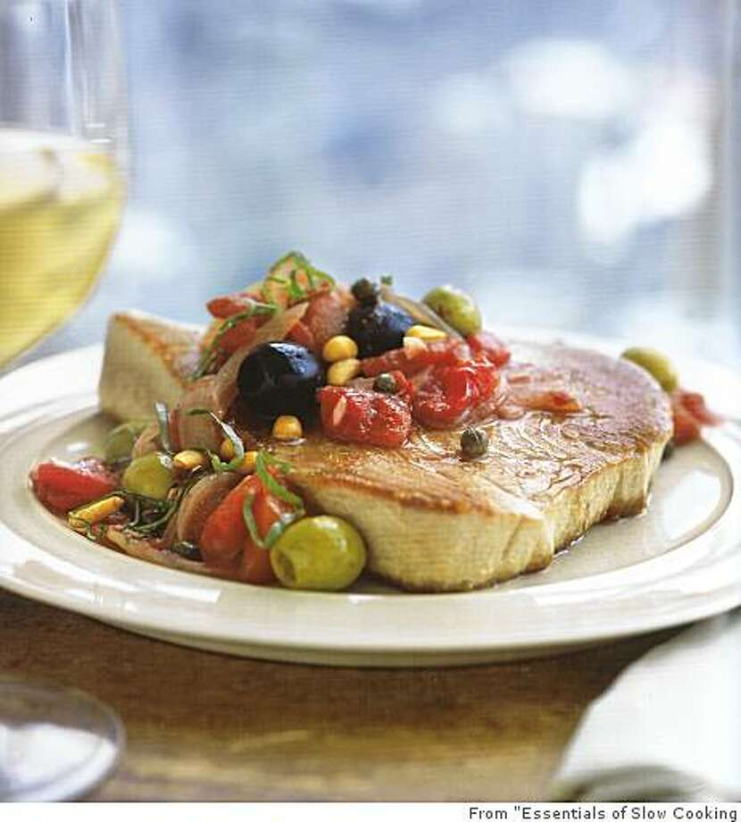 "Tuna with Tomatoes and Olives / From ""Essentials of Slow Cooking"" Photo: From ""Essentials Of Slow Cooking"