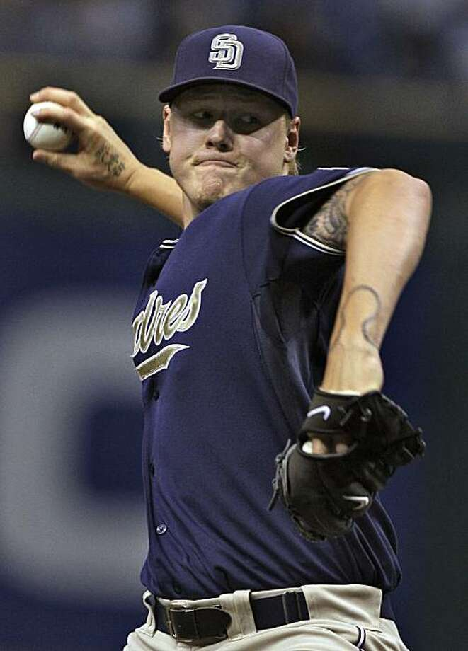 San Diego Padres pitcher Mat Latos delivers to the Tampa Bay Rays during the first inning of an interleague baseball game Tuesday, June 22, 2010, in St. Petersburg, Fla. Photo: Chris O'Meara, AP