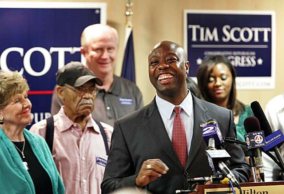 Tim Scott speaks to supporters at the Hilton Garden Inn in North Charleston, S.C. after he won a run-off election to become Republican candidate for South Carolina's 1st congressional district, defeating Paul Thurmond, son of long-time U.S. Senator, the late Strom Thurmond, on Tuesday June 22, 2010. Photo: Wade Spees, AP