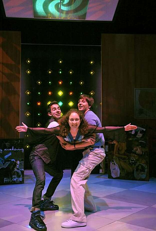 "Howie (Maro Guevara), Diwata (Jayne Deely) and Solomon (Jason Frank) take a dance break in Stephen Karam's ""Speech & Debate"" at Aurora Theatre Photo: David Allen"